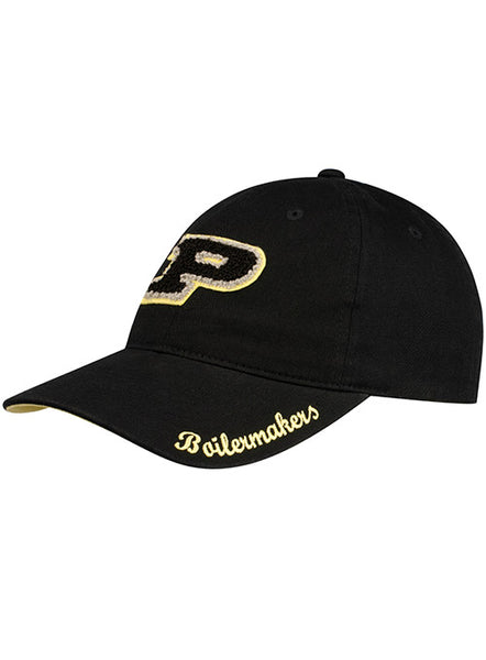 Ladies Purdue Chenille Logo Unstructured Adjustable Hat, Click to See Larger Image