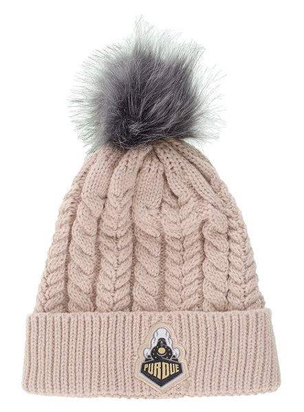 Ladies Purdue Fur Pom Cable Knit Hat, Click to See Larger Image