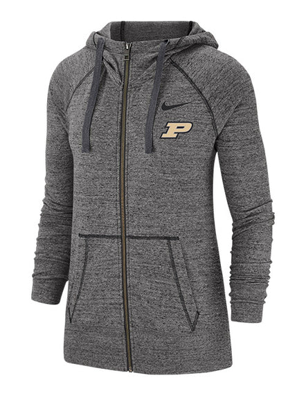 Ladies Purdue Nike Vintage Gym Full-Zip Hooded Sweatshirt, Click to See Larger Image