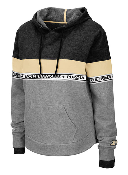 Ladies Purdue Color Block Hooded Sweatshirt, Click to See Larger Image