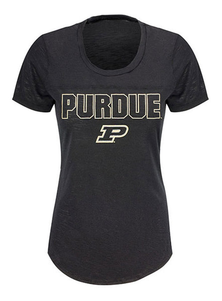 Ladies Purdue Poly Slub T-Shirt, Click to See Larger Image