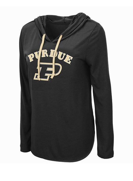 Ladies Purdue Long Sleeve Hooded T-Shirt, Click to See Larger Image