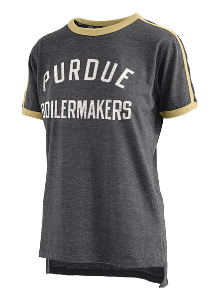 Ladies Purdue Melange Applique T-Shirt, Click to See Larger Image