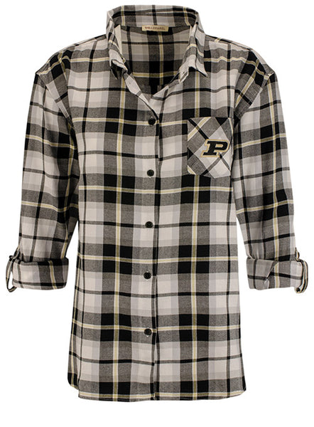 Ladies Purdue Boyfriend Plaid Woven Shirt, Click to See Larger Image