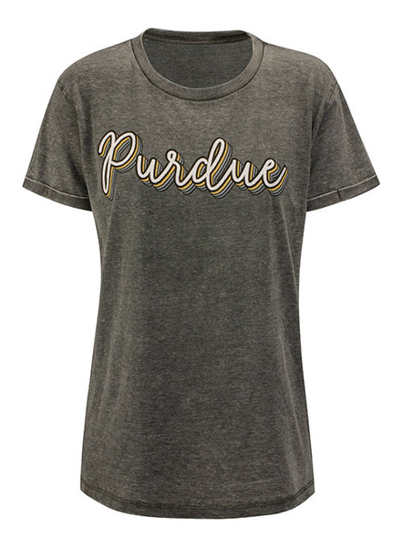 Ladies Purdue Pressbox Vintage Wash Boyfriend T-Shirt, Click to See Larger Image