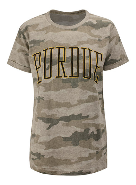 Ladies Purdue Pressbox Urban Wildlife Camo T-Shirt, Click to See Larger Image