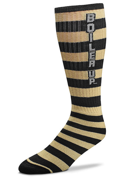 Purdue Boiler Up Striped Knee High Socks, Click to See Larger Image