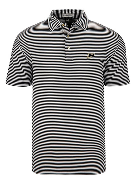 Purdue Peter Millar Competition Stripe Polo, Click to See Larger Image