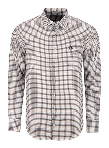 Purdue Peter Millar Stretch Tattersall Sport Shirt, Click to See Larger Image