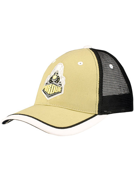 Purdue Tri-Color Meshback Structured Snapback Adjustable Hat, Click to See Larger Image