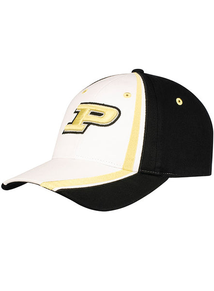 Purdue Asymmetrical Stripe Structured Adjustable Hat, Click to See Larger Image