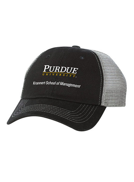 Purdue Krannert School of Management Contrast Stitch Unstructured Adjustable Meshback Hat, Click to See Larger Image