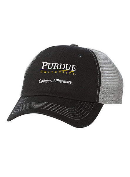 Purdue College of Pharmacy Contrast Stitch Unstructured Adjustable Meshback Hat, Click to See Larger Image