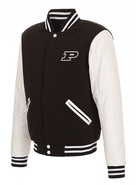Purdue Reversible Fleece Button Snap Jacket, Click to See Larger Image