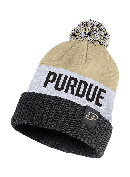 Purdue Nike Color Block Cuffed Knit Hat, Click to See Larger Image