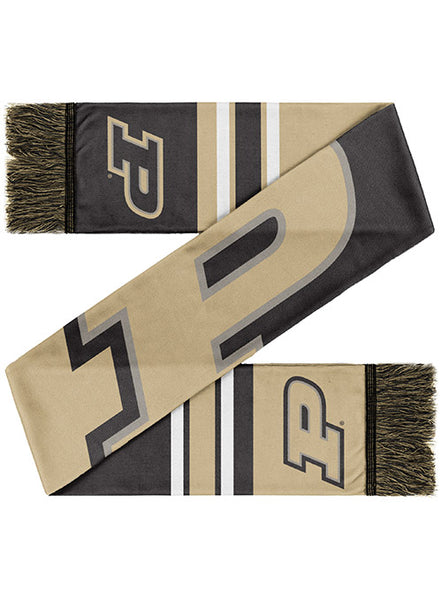 Purdue Colorblock Two-Sided Knit Scarf, Click to See Larger Image