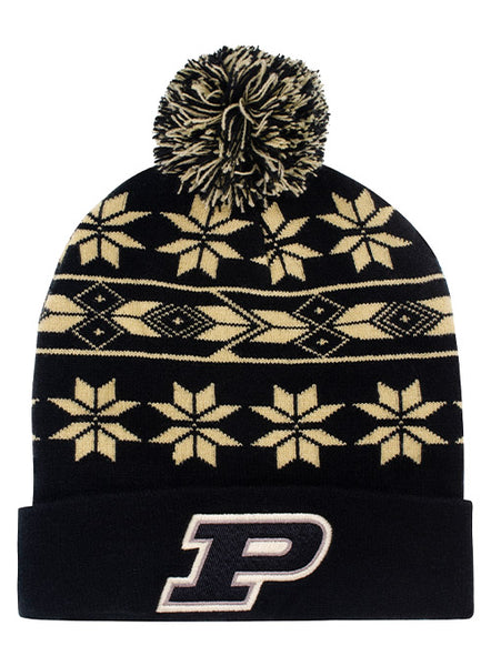 Purdue Snowflake Pattern Knit Hat, Click to See Larger Image