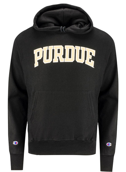 Purdue Wordmark Reverse Weave Hooded Sweatshirt, Click to See Larger Image