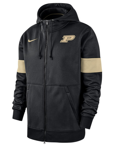 Purdue Nike Sideline Therma Full Zip Hooded Sweatshirt, Click to See Larger Image