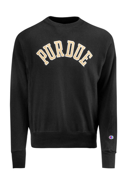 Purdue Champion Reverse Weave Wordmark Crew Sweatshirt, Click to See Larger Image