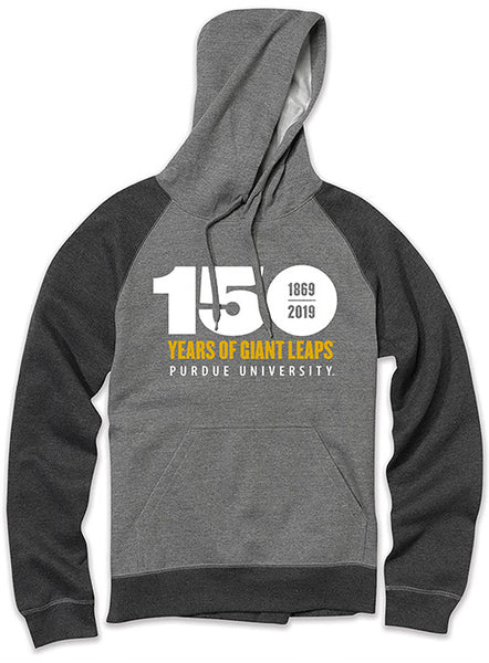 Purdue 150th Anniversary Raglan Hooded Sweatshirt, Click to See Larger Image