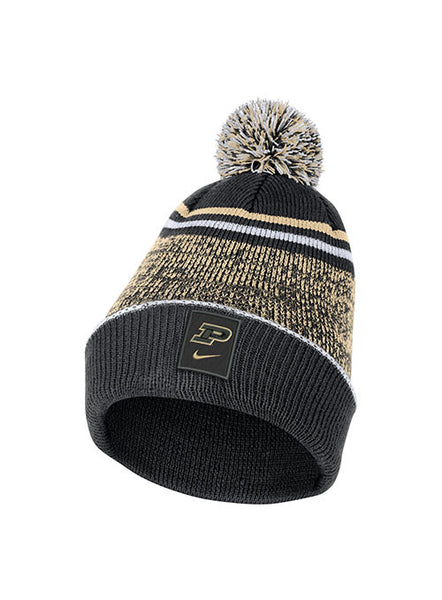 Youth Purdue Nike Sideline Pom Beanie, Click to See Larger Image