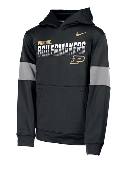Youth Purdue Nike Sideline Therma Hooded Sweatshirt, Click to See Larger Image
