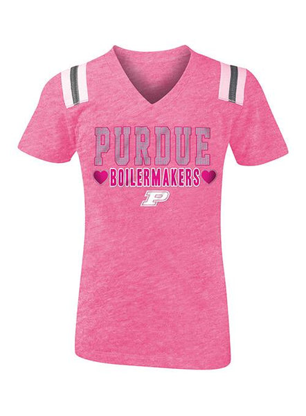 Girls Purdue New Era Glitter Tri-Blend T-Shirt, Click to See Larger Image