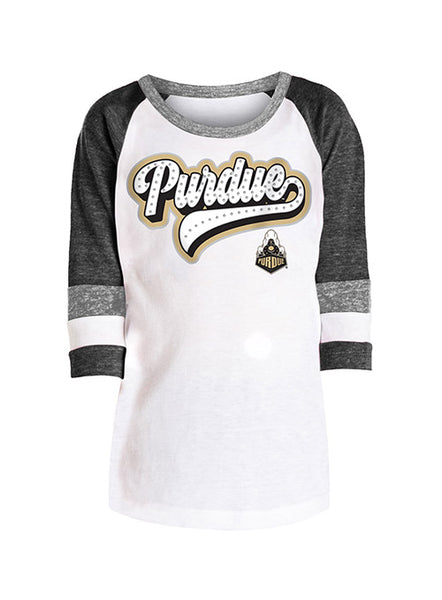 Girls Purdue 5th & Ocean Rhinestone Tri-Blend 3/4 Sleeve T-Shirt, Click to See Larger Image