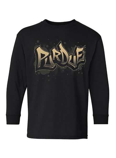 Youth Purdue Graffiti Long Sleeve T-Shirt, Click to See Larger Image