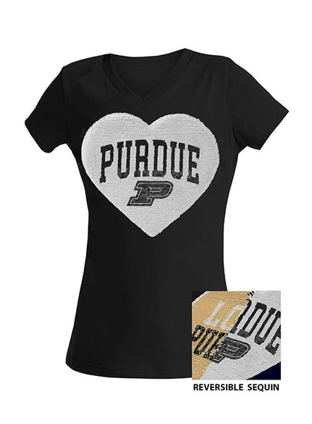 Girls Purdue 5th & Ocean Inverse Sequin Heart T-Shirt, Click to See Larger Image