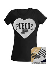 Girls Purdue 5th & Ocean Inverse Sequin Heart T-Shirt