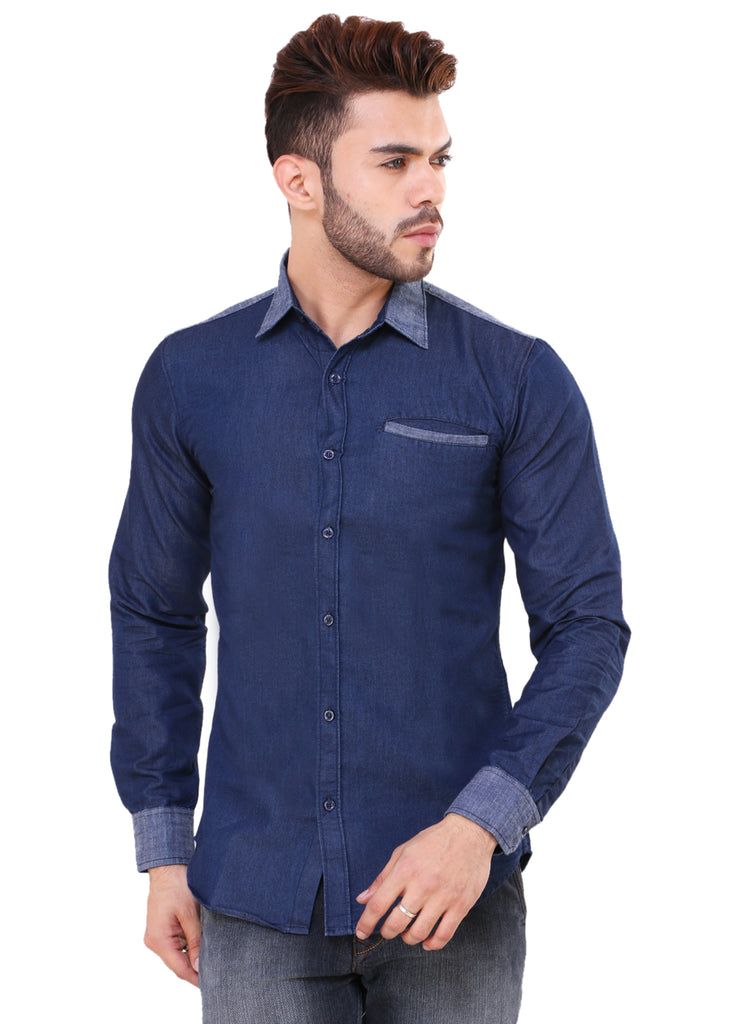 b74bf1838bb Buy Trendy Blue Denim Shirt for Men at Fully Funky