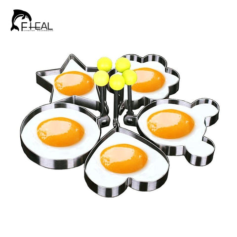 5pcs/set Stainless Steel Cute Shaped Egg Mold Kitchen Tool Fully Funky