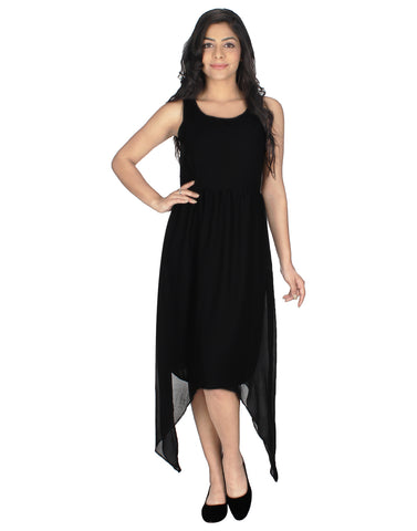 A-line Black Casual Dress Fully Funky