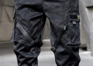 Dark carbon cargo pants