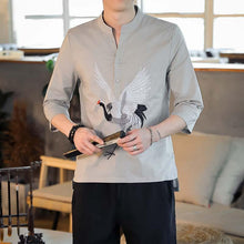 Load image into Gallery viewer, Crane Chinese linen shirt
