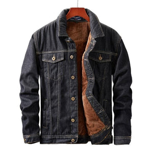 Fleece lining dark mineral denim jacket