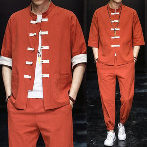 Solid style Chinese Tang shirt + pants set