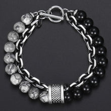 Load image into Gallery viewer, Lava stone chained bracelet