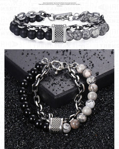 Lava stone chained bracelet