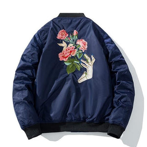 Rose hand bomber jacket
