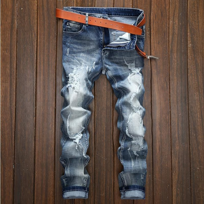 Men's vintage distressed faded slim fit jeans