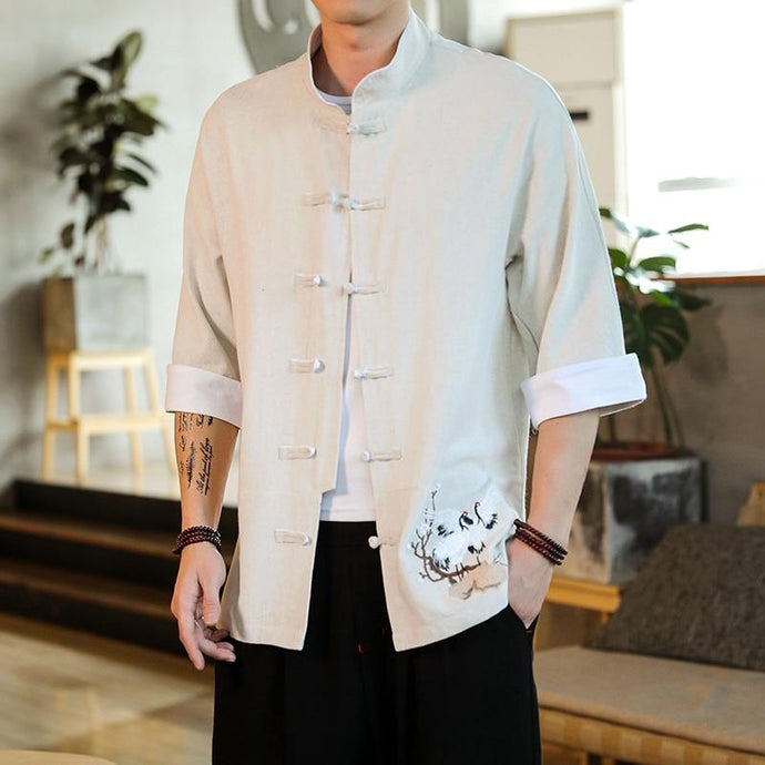 Double crane embroidery Tang shirt