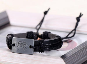 Zodiac alloy plate leather bracelet