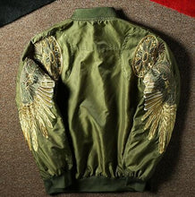 Load image into Gallery viewer, Embroidery eagle wing bomber jacket