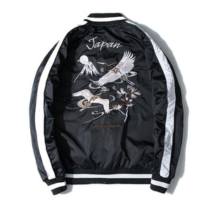 Japan crane embroidery sukajan jacket
