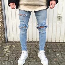 Load image into Gallery viewer, Men's distressed skinny jeans