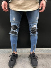 Load image into Gallery viewer, Distressed biker skinny jeans zipper leg Ver. 2
