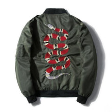 Load image into Gallery viewer, Serpent strength embroidery bomber jacket